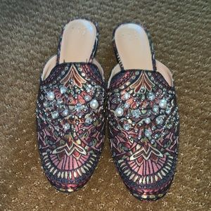 Target beaded printed mules size 10